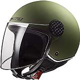 LS2 OF558 Sphere - Casco Jet de moto con visera larga para scooter, moto, mujer y hombre, Demi Jet, homologado ECE Matt Militare-Verde X-Small