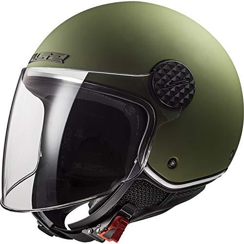 LS2 OF558 Sphere - Casco Jet para moto con visera larga, para moto y scooter, para mujer y hombre, con homologación ECE mate, militar, color verde, talla XS (53-54 cm)