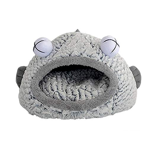 Pet Cave Bed for Cats/Small Dogs, Cat Bed House, Microfiber Indoor Outdoor Pet Beds, Bigeye Fish Shape Pet Bed Mat Pet Supplies (L: Gray)
