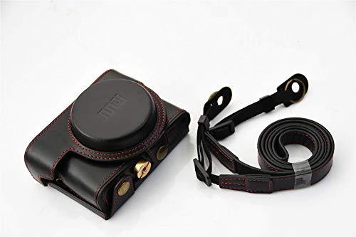 Funda G7X Mark III, Zakao protectora de cuero real para cámara con diseño de trípode, compatible con Canon G7 X G7X Mark II III con correa para el cuello del hombro (negro)