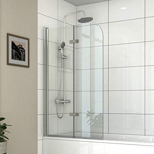 Safeni Badewannen Duschwand 100 x 140 cm Duschtrennwand Badewannenaufsatz Faltwand Duschabtrennung aus 6mm Nano ESG Sicherheitsglas, Schwenkbar 180º
