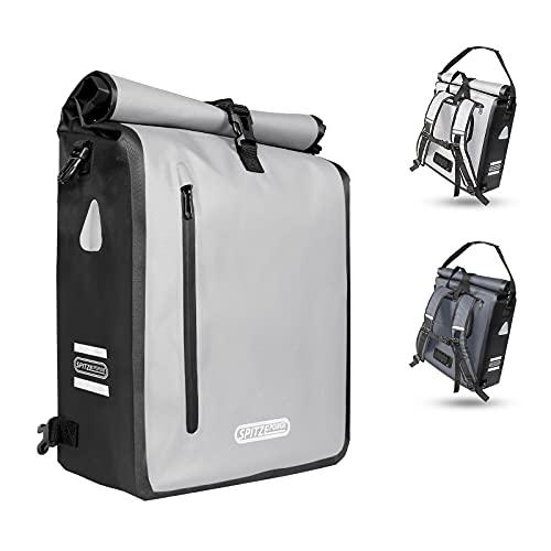 SPITZE FORGE 3in1 Fahrradtasche für Gepäckträger 100% Wasserdicht & Reflektierend - Rucksack, Gepäckträgertasche, Umhängetasche - Hinterradtasche zum Einkaufen, Arbeit und Fahrradtour PVC-frei (25L)