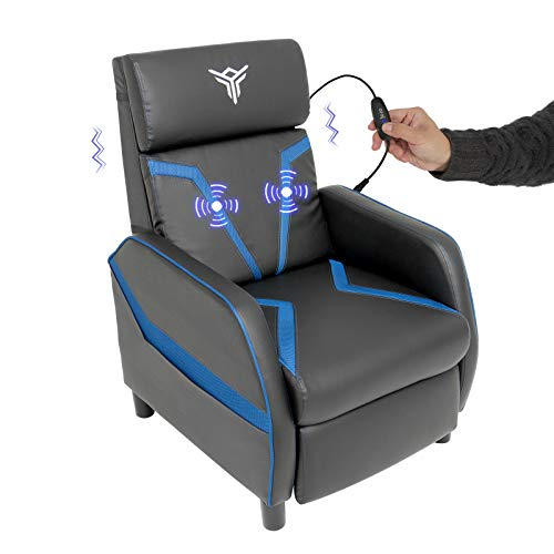 Massage Gaming Recliner Chair with Footrest Racing Style, Single Ergonomic Lounge Sofa Modern PU Leather Reclining Home Theater Seating for Living & Gaming Room