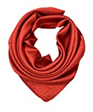 YOUR SMILE Pure Red Silk Feeling Scarf Women's Fashion Large Square Satin Headscarf (339)