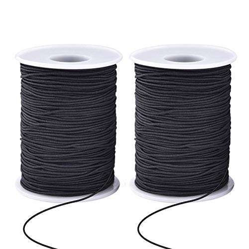 Zealor 2 Roll 1 mm Elastic String Cord Elastic Thread Beading String Cord for Jewelry Making Bracelets Beading 100 Meters/Roll (Black)