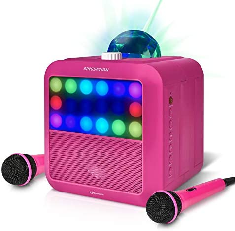 Portable Karaoke Machine Singsation Star Burst Pink Karaoke System Comes w 2 Mics Room Filling product image