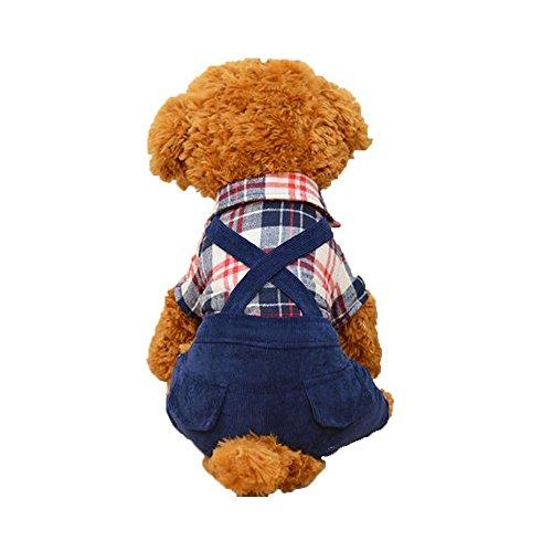 Oncpcare Voor Koud Weer Warm Hond Kleding Gezellige Jumpsuit Outfits Hond Kostuum Britse Stijl Hond Pak met Overalls Broek, L, Blauw