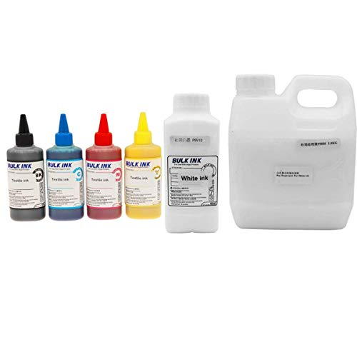 Textile Ink (CMYK) White Textile Ink, pretreatment Liquid for Textile White Ink for DTG Flatbed Printer Print on t-Shirt