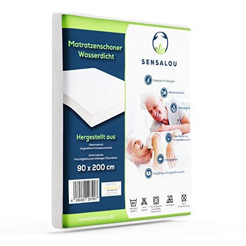 Sensalou Wasserdichter Matratzenschoner mit extremer Saugkraft - Perfekter Nässeschutz - Atmungsaktive Matratzenauflage - Hochwertigste Materialien (1 Stück - 90x200 cm)