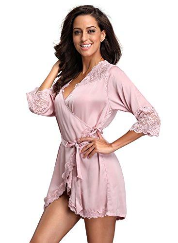 FanShou Women Short Silk Kimono Robe Lace Trim Satin Sleepwear Bridesmaids (X-Small/Asia Tag Medium, Pink)