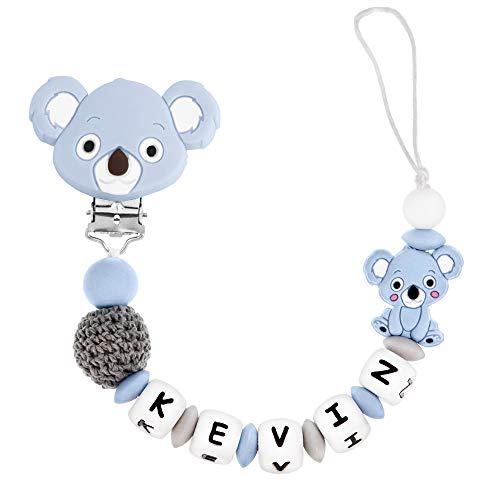 RUBY - Chupetero Personalizado para Bebé con Nombre Bola Silicona Antibacteriana con Pinza Koala de Silicona, Chupetero de Koala (Azul)