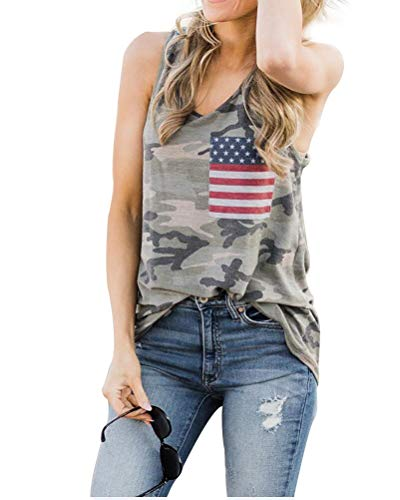 Womens Casual Camo Racerback American Flag Tank Top Loose Fit Workout Tops Size S (Army Green)