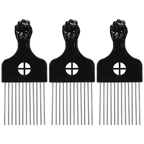 LUTER 3 Pack Afro Comb Hair Metal Pick Hairdressing Wig Braid Styling Tool Metal Combs for Women and...