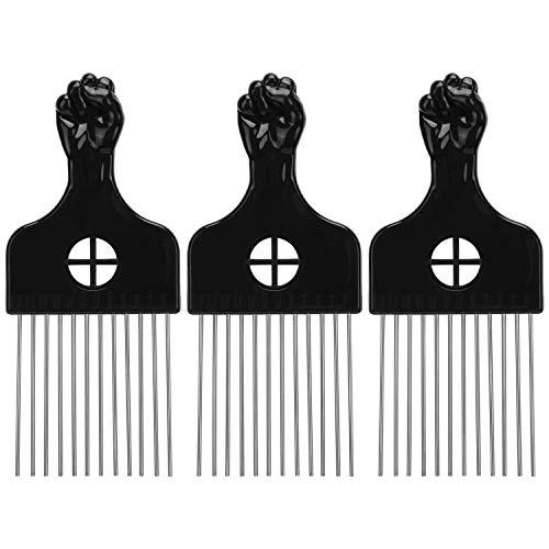 LUTER 3Stk Afro Kamm Afro Pick Fingerstyler Hair Metal Pick Friseur Perücke Styling-Tool Afrokamm für Natur-Locken, Dauerwelle, Strähnen(Schwarz)