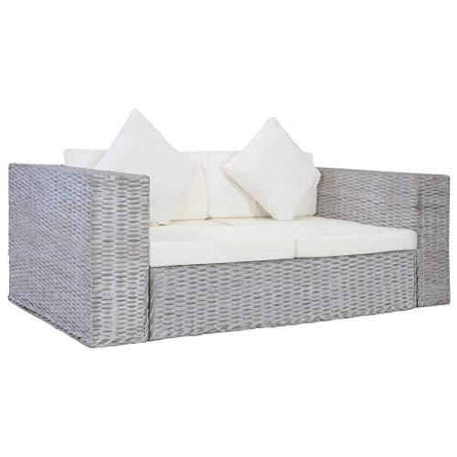 vidaXL Sofa 2-Sitzer mit Polstern Zweisitzer Loungesofa Rattansofa Sitzmöbel Rattanmöbel Wohnzimmer Möbel Büromöbel Grau Natürliches Rattan
