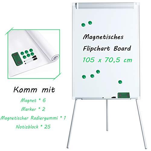 COSTWAY Magnetisches Whiteboard Alu Magnettafel Schreibttafel Pinnwand Wandtafel Board Memoboard mit Ständer Standboard höhenverstellbar