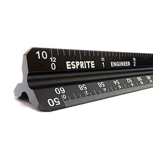 12 Imperial Scale Two Aluminum Rulers with Velvet Bags Architect Scale and Engineer Scale Set