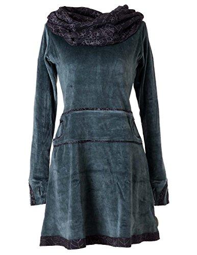 Vishes - Alternative Bekleidung – Samtkleid mit Kapuzenkragen grau-grün 40