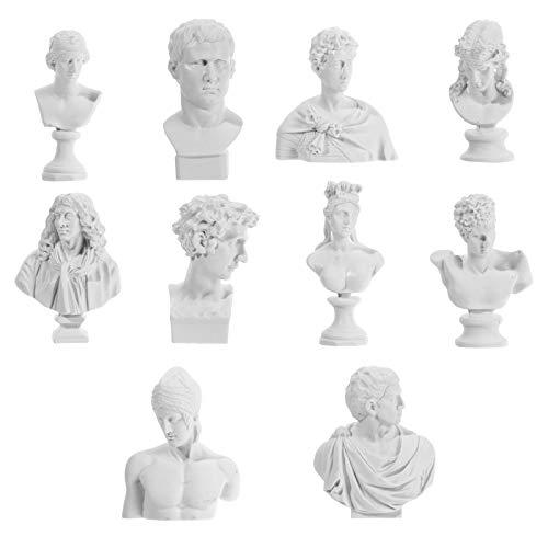 VOSAREA Griechische Mini-Statue, griechische Kunstharz-Skulpturen, griechische Figur, Ornament, 10 Stück