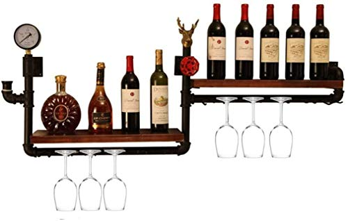 COLiJOL Alenamiento de Vino Colgante de Pared de Madera Copa de Vino Soporte para Copa de Champán Estante para Botellas de Vino Estante para Vino Colgante de Pared Doble Alenamiento Fácil de Instalar