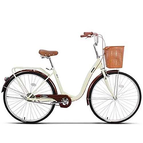 26 '' Las Mujeres De Bicicletas Para Adultos Brown, Bicicleta De La Comodidad Con La Cesta Y El Apoyo Para La Espalda, Bicicleta Holandesa, Bicicleta De Damas, Bicicleta De Ciudad, Retro, Vintage