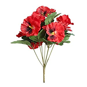 Silk Flower Arrangements BreTT1QIN9 Artificial Flower,1 Heads Artificial Flower Pansy Garden DIY Stage Party Home Wedding Craft Decoration - Red