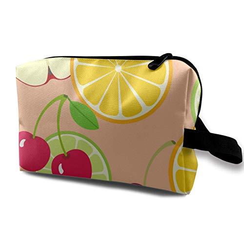XCNGG Bolsa de almacenamiento de maquillaje de viaje, bolso de aseo portátil, pequeña bolsa organizadora de cosméticos para mujeres y hombres, naranja y cerezas, fruta
