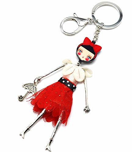 PT908L-Llavero, diseño de joya de bolsa-Muñeca articulada con vestido de cuello volantes tejido y tul-modo de piel con diseño de lunares, color rojo