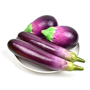 HZHI Fake Eggplant Combination Decoration Artificial Vegetable Home Kitchen Play Food Lifelike Realistic Model 4 pcs