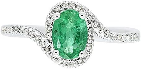 Gin Grace 14K 流行 White Gold Natural Wed お中元 I2 Emerald Diamond I1
