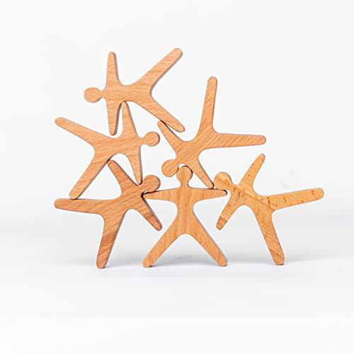 TRAUMHOLZIG Stapelakrobaten (6 teilig) Waldorfspielzeug, Heilpädagogisches Balancier-Spielzeug | handgemacht aus hochwertigem Holz und geölt (6-teilig)