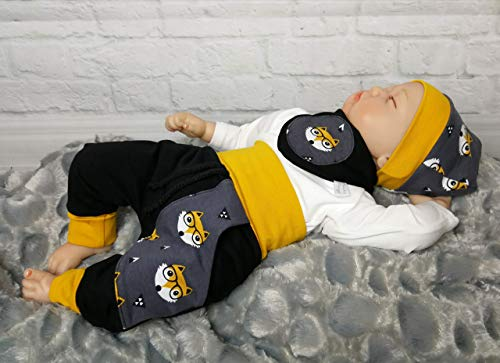 Baby Set 3tlg. 50 56 62 68 74 80 92 98 104 Fuchs Senf handmade Puschel-Design