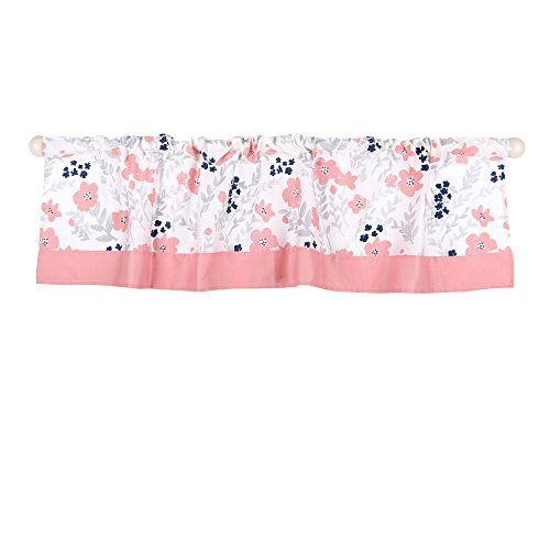 Coral Pink and Navy Blue Floral Print Window Valance by The Peanut Shell