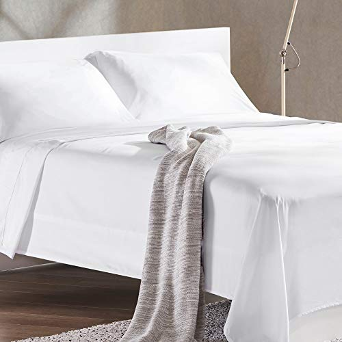 SLEEP ZONE 4-Piece Soft Cooling Bed Sheet Set Queen Size - Wrinkle Free & Fade Resistant Moisture Wicking Breathable Microfiber Sheet (White, Queen)