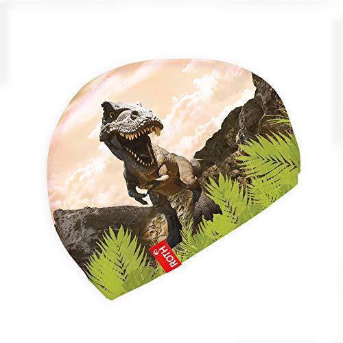 ROTH Gorro de natación de tela para niños de 4 a 9 años, diseño de Tyrannosaurus, color azul claro