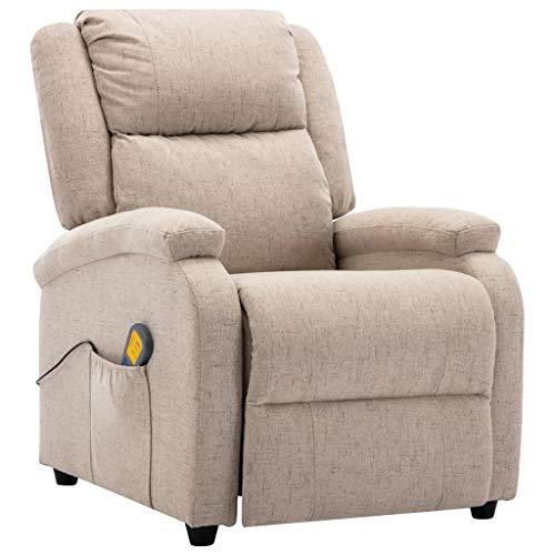 vidaXL Massagesessel Elektrisch Heizfunktion Fernsehsessel Relaxsessel Liegesessel Ruhesessel Polstersessel TV Sessel Shiatsu Cremeweiß Stoff