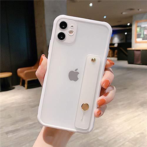 WGOUT Estuche para teléfono Color Caramelo con Correa para la muñeca para iPhone 12 SE 2020 11 11Pro MAX XR XS MAX X 6S 7 8 Plus Funda Transparente Parachoques a Prueba de Golpes, T9, para iPhone X