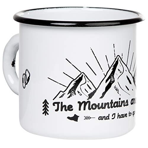 THE MOUNTAINS ARE CALLING - Hochwertige Emaille Tasse mit Outdoor Design, leicht und bruchsicher, für Camping und Trekking - von MUGSY.de - 330ml