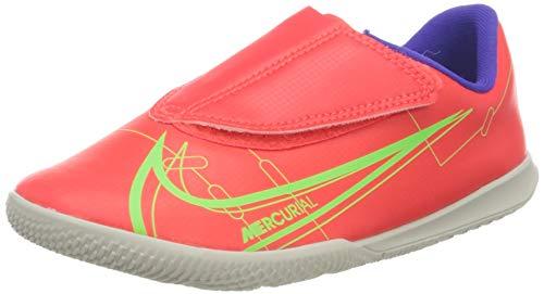 Nike Jr Vapor 14 Club IC PS (V), Football Shoe, Bright Crimson/Metallic Silver-Indigo Burst-White-Rage Green, 28 EU
