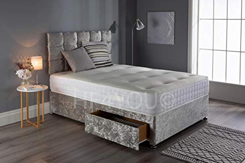 Saif Crushed Velvet Divan Bed Set With Memory Sprung Mattress, 2 Drawers and 24 Inch Grid Headboard (4FT6 Double, Silver)