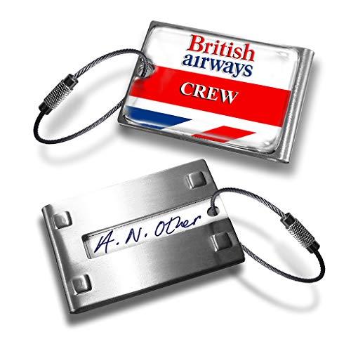British Airways - Etiqueta de metal para equipaje con logotipo retro