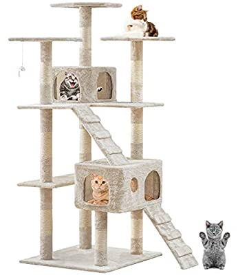 BestPet Cat Tree Cat Tower Cat Condo 72 inches Tall Multi-Level Playpen House Kitty Activity Tree Center with Funny Toys