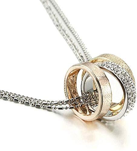 Collar para mujeres, hombres y mujeres, collar con colgante de plata, elegante, cadena larga, collar de cristal, 3 círculos, conjunto de collar y pendientes, color dorado y plateado