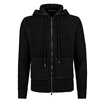 VOBOOM Men s Full Zip Hooded Cardigan Sweater Casual Knitted Sweater Jacket with Pockets  Black XX-Large