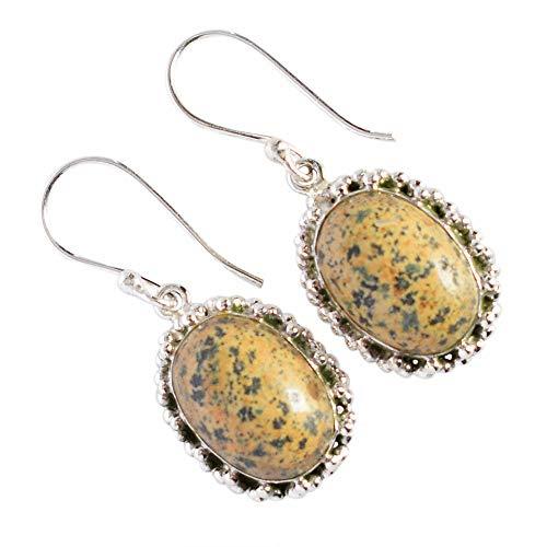 Pendientes de gema de jaspe oceánico a la moda, citrino, plata de ley 925 maciza, joyería de piedras preciosas, regalo de diseñador para mujer FSJ-3798
