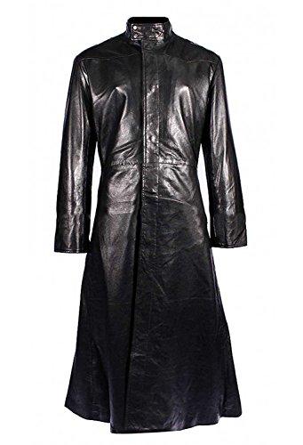 Fashion_First Abrigo negro Matrix Neo Keanu Reeves con cuello redondo para hombre