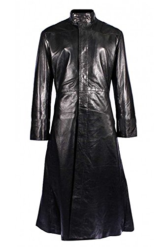 Fashion_First Herren Matrix Neo Keanu Reeves Trenchcoat mit rundem Kragen, Schwarz Gr. Medium, Schwarz
