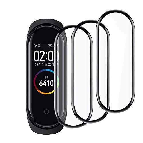 FiiMoo Protector de Pantalla Compatible con Xiaomi Mi Band 4, [3 Pack] [3D Cobertura Completa][ Alta Sensibilidad], Protector de Pantalla para Xiaomi Mi Band 4