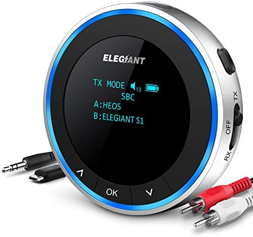 ELEGIANT Bluetooth 5 1 Transmitter Receiver Visible Wireless Audio Adapter Low Latency with product image
