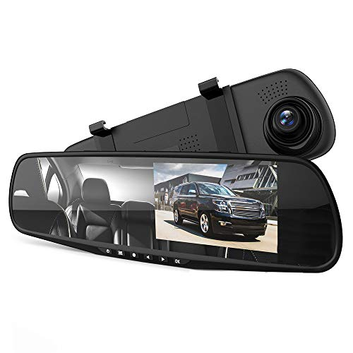 "VKAKA Dash Cam Rearview Mirror - 3.5"" DVR Monitor Camera Video Recording System in Full HD 1080p w/Built in G-Sensor Motion Detect Parking Control Loop Record Support"